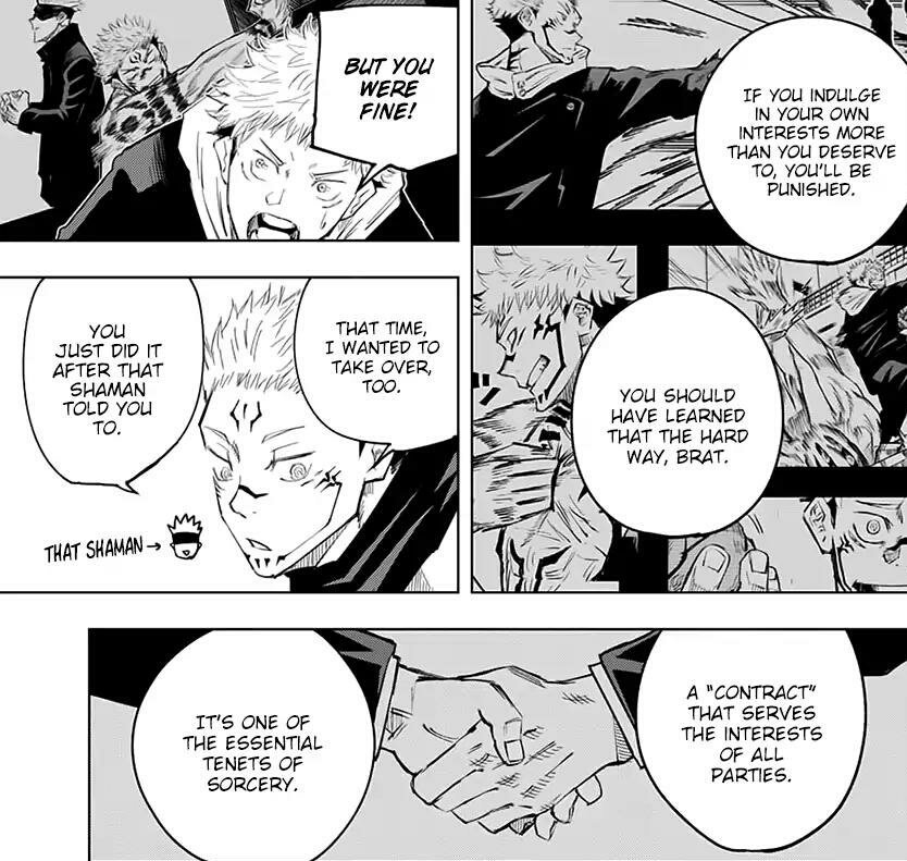 Jujutsu Kaisen On Twitter Sukuna And Yuji S Contract Sukuna Takes Over Yuji S Body For 1 Minute When He Says Abŕaxas In Exchange Yuji Doesn T Remember The Contract And Sukuna Can T Hurt Anyone