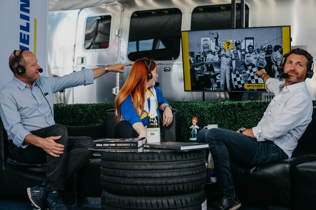 Pre-race show will be going LIVE tomorrow at 7:30AM ET on #TheTorqueShow Facebook page. Get ready because tomorrow we sit down with @coltonherta and announce our #MichelinMysteryGuest! Take a guess in the comments below #WhereWinnersHang #IMSA #Sahlens6Hrs #MustangSampling