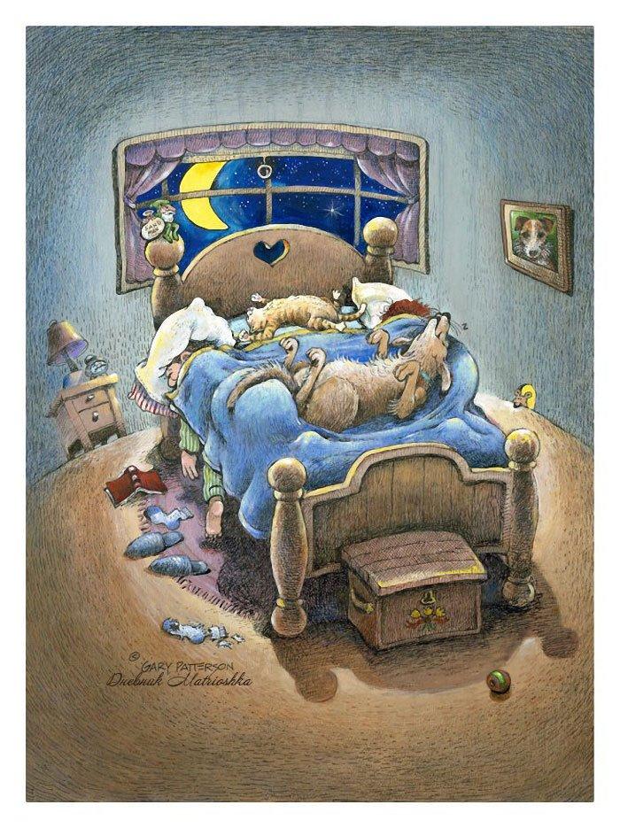 Открытка с кроватью, открытка учительнице