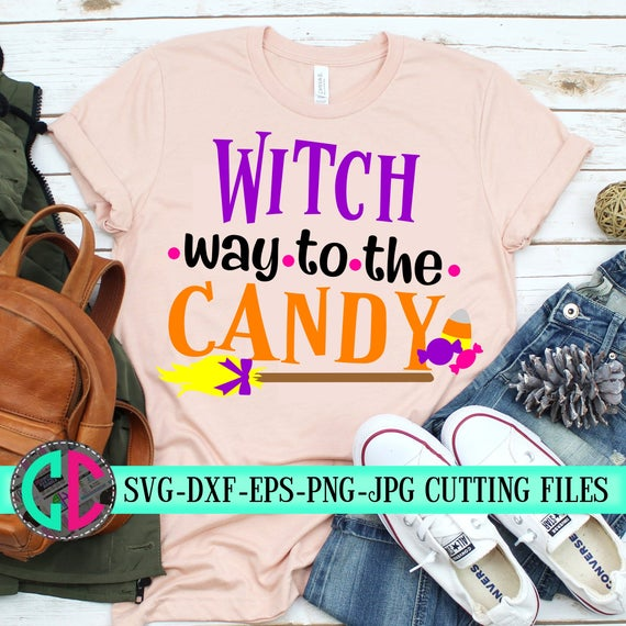 Get Witch Way To The Candy, Svg, Dxf, Cricut, Silhouette Cut Files Design