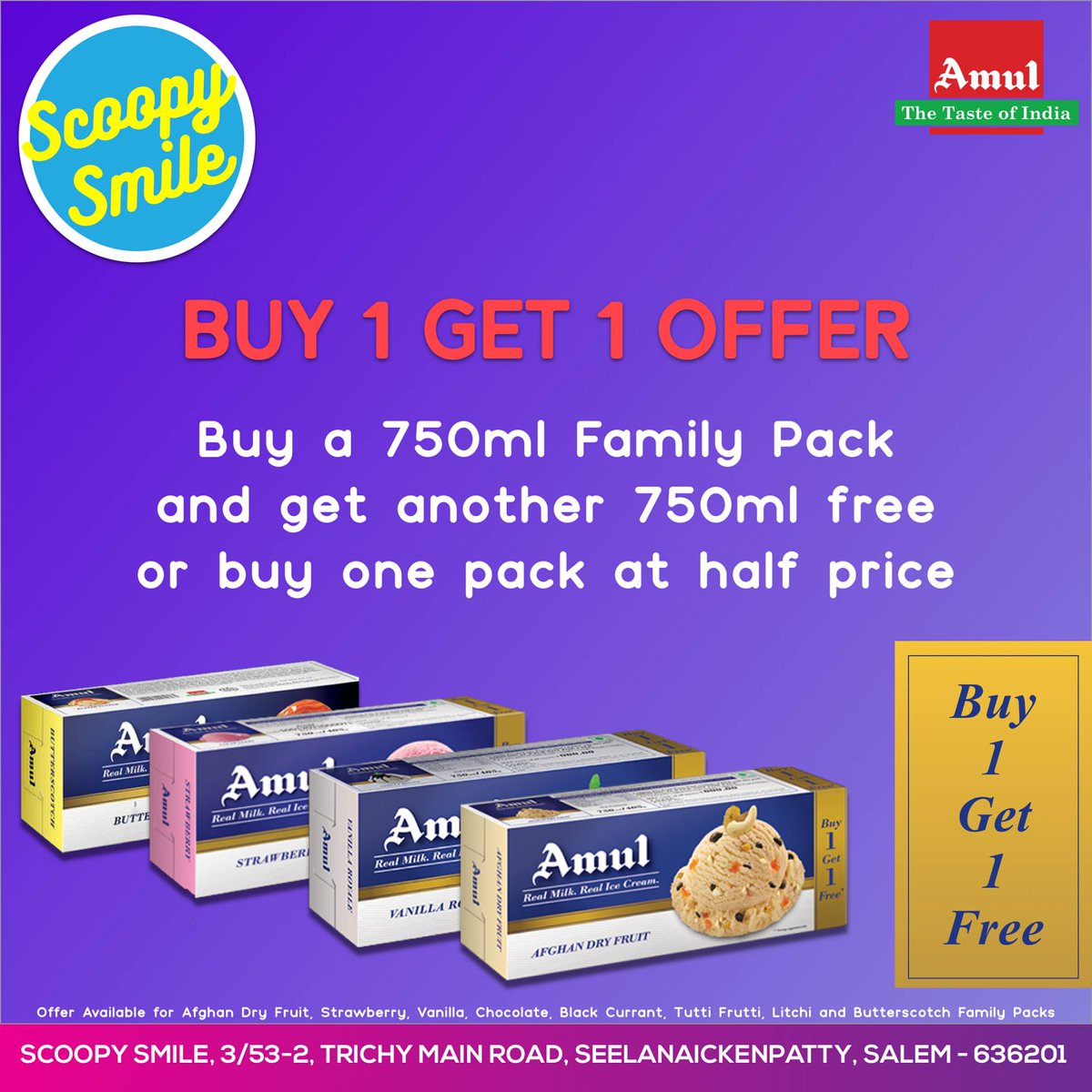 amul ice cream buy one get one free