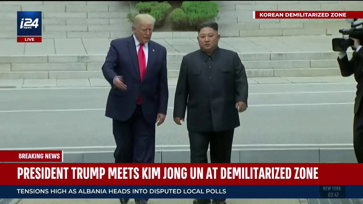 Donald #Trump became the first sitting US president to step foot into North Korean territory as he met #Kim Jong Un on the demilitarized zone between the two Koreas