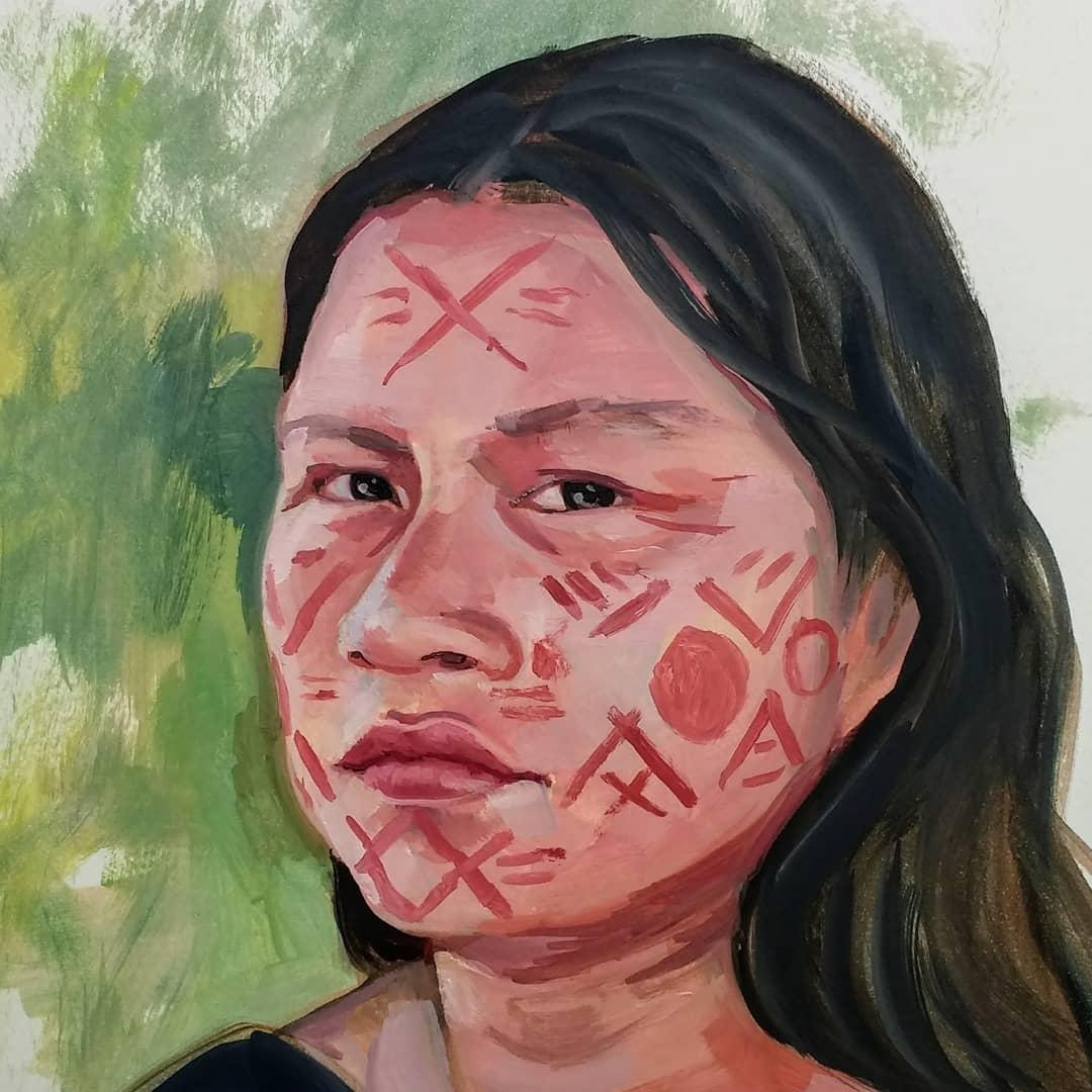 Diana Rios Rengifo #peru #indigenousactivism #environmentalactivist #ifnotusthenwho #growjune #100heads #100headschallenge #oilsketch #oilonpaperpic.twitter.com/9gG2zXfYtz