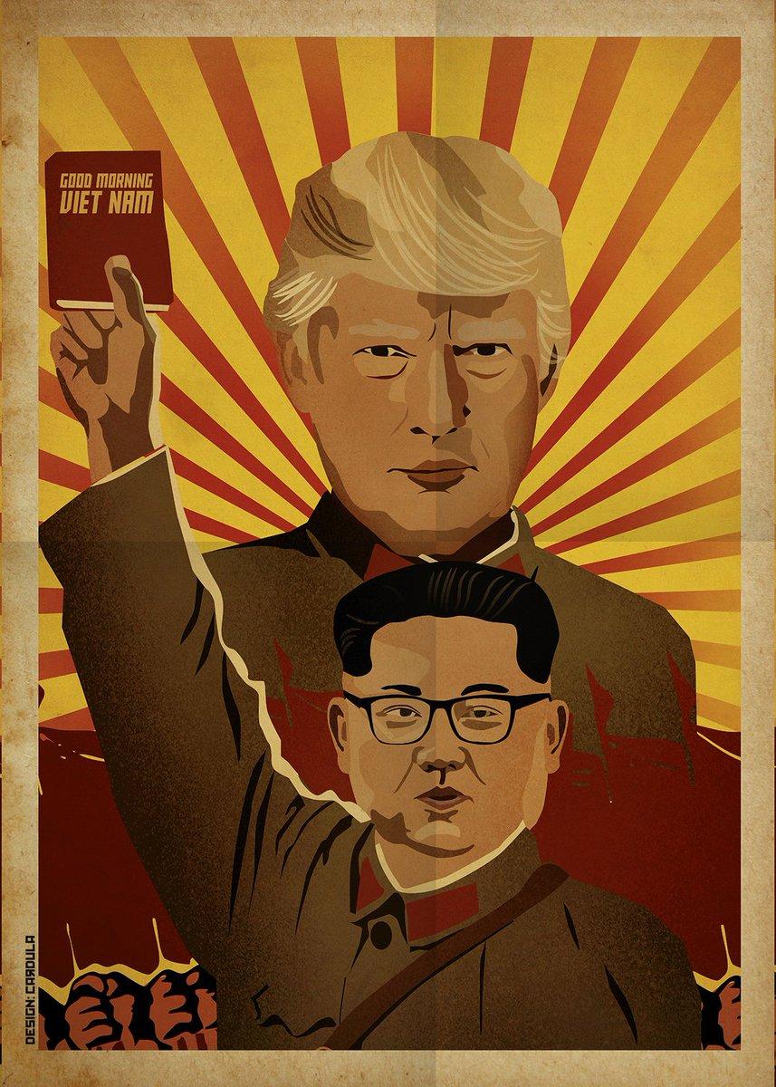 Трамп е првиот амерички претседател кој ја посети Северна Кореја па еве еден мој постер во стилот на зејата домаќин