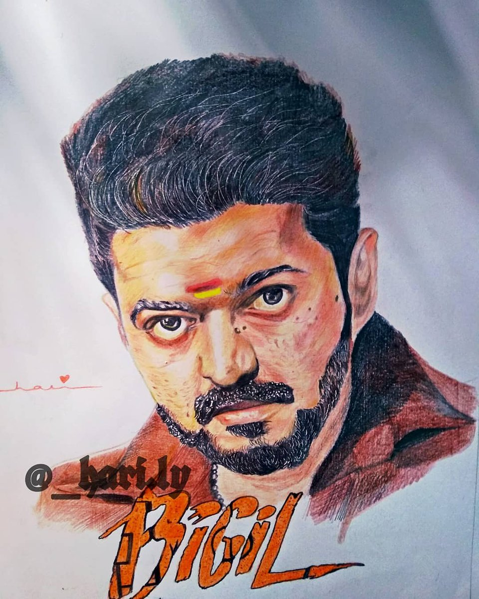 Bigil Vijay Pencil Drawing Images