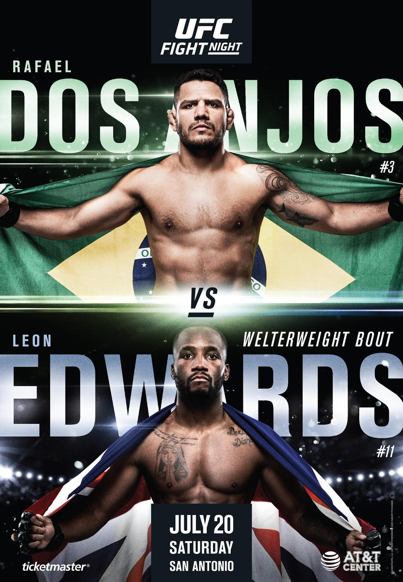 Your #UFCSanAntonio poster is here!  🇧🇷 @RdosAnjosMMA vs @Leon_edwardsMMA 🇬🇧