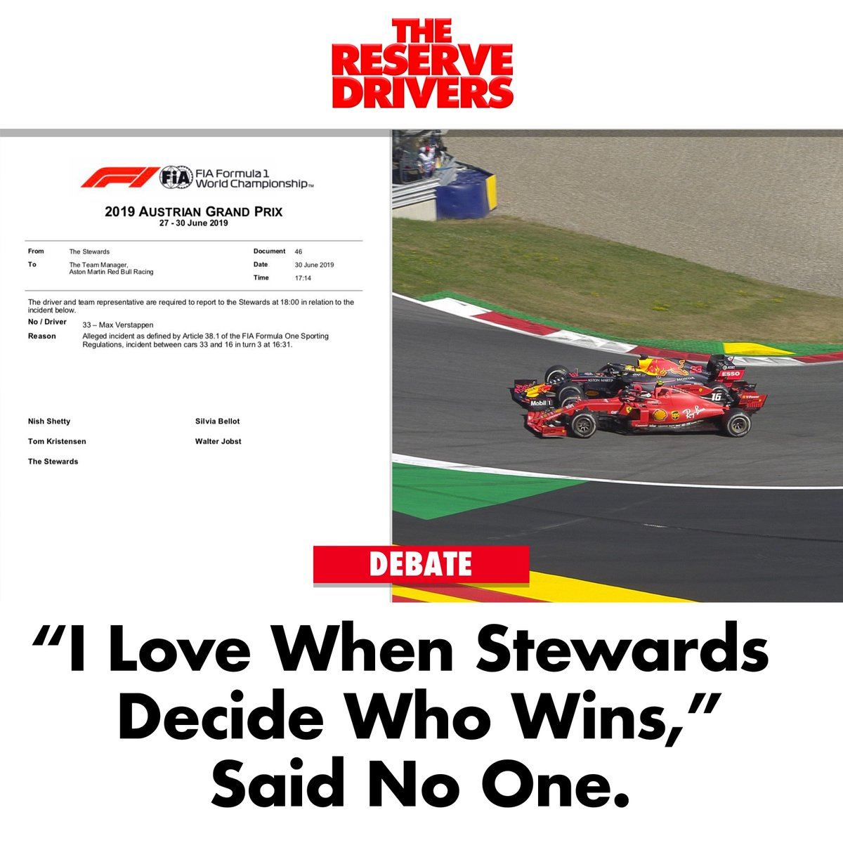 """""""Epic on track battles are even better when the Stewards get involved!"""" #AustrianGP #F1"""