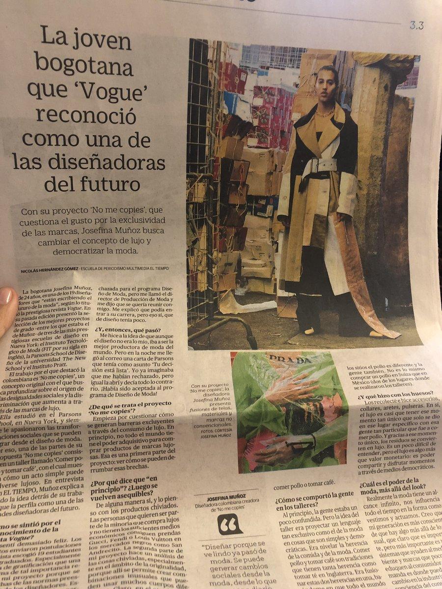 """#LecturaRecomendada la talentosa diseñadora Josefina Muñoz Nieto y su proyecto #NoMeCopies.  Jose """"empieza por cuestionar cómo se generan barreras excluyentes a través del consumo de lujo (...)"""" 👇🏽  https://t.co/xnKCDO3yet #ArteConSentidoSocial  #DiseñadorasDelFuturo #Jose❤️ https://t.co/uy6HxMbZB2"""