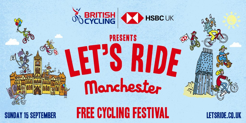 Come along to @letsrideuk and enjoy seeing Manchester from the saddle!   It's a fun and free activity for the whole family and you can wobble, zig-zag and stop as much as you like on the car-free roads! Register for your place at http://socsi.in/MfWtw