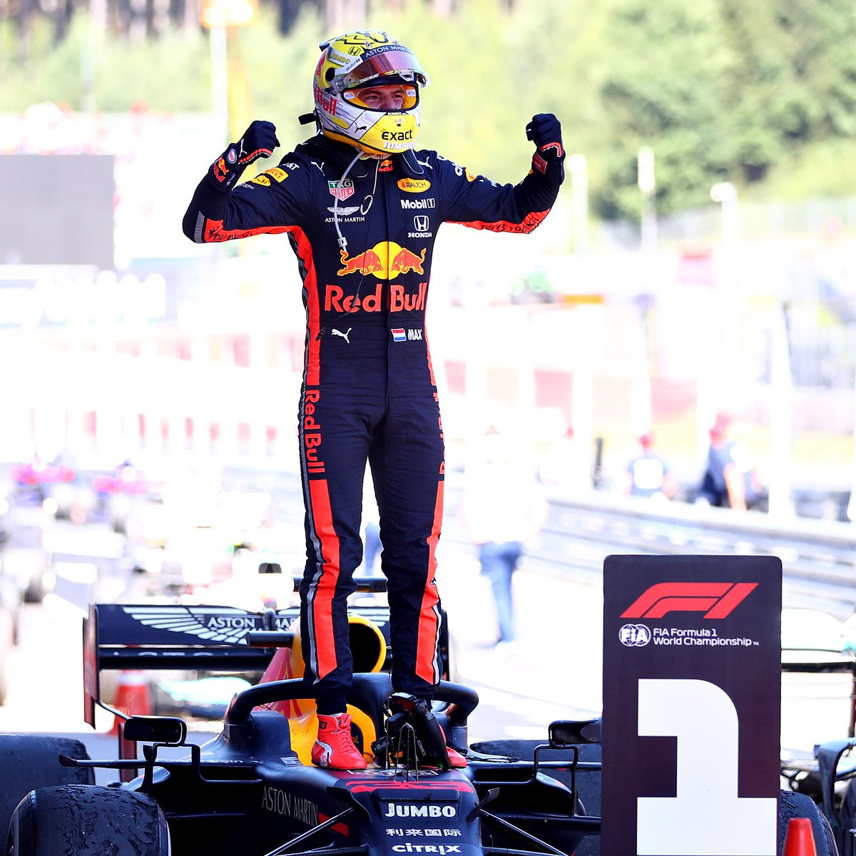 It was an incredible race and an amazing win! 💪🏻 Thank you @redbullracing, thank you @HondaRacingF1, thank you fans, thank you all! 🙌 #KeepPushing #OrangeArmy #AustrianGP 🇦🇹