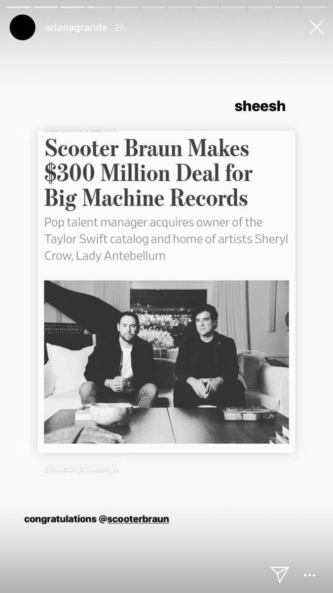 Ariana Grande parabeniza Scooter Braun pela compra da Big Machine e exclui postagem após carta aberta de Taylor Swift ser divulgada