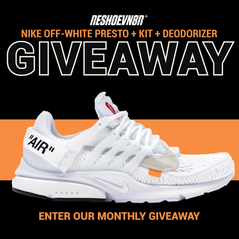 New month! New Giveaway! This month we are giving away a Off White Prestos w/ a Reshoevn8r Laundry System and Deodorizer! For an extra entry, make sure you are following us on Twitter, and retweet this tweet! https://reshoevn8r.com/pages/giveaway