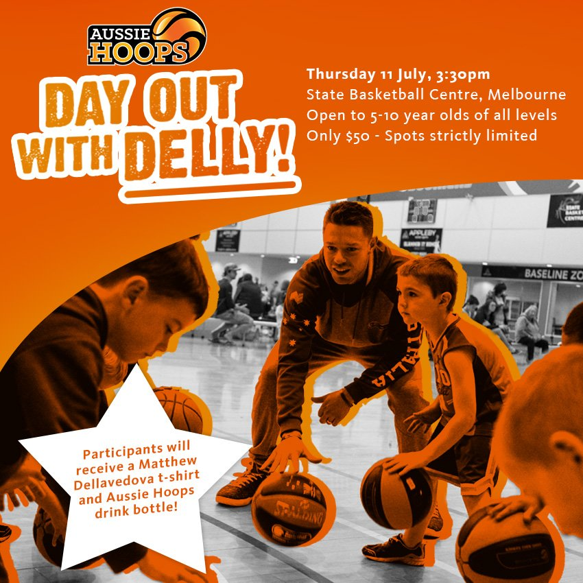 2 DAYS TO GO | Participants who register to attend the Day Out with Delly Clinic before Wed 3rd July, will be put in the draw to win an exclusive meet & greet with @matthewdelly. Only 3 participants will be chosen. Make sure you register today http://bit.ly/DayOutWithDelly #AussieHoops
