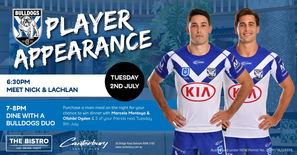 Canterbury Bankstown Bulldogs On Twitter Meet Nick Meaney Lachlan Lewis From 6 30pm Tomorrow Evening At Canterbury Lc Proudtobeabulldog
