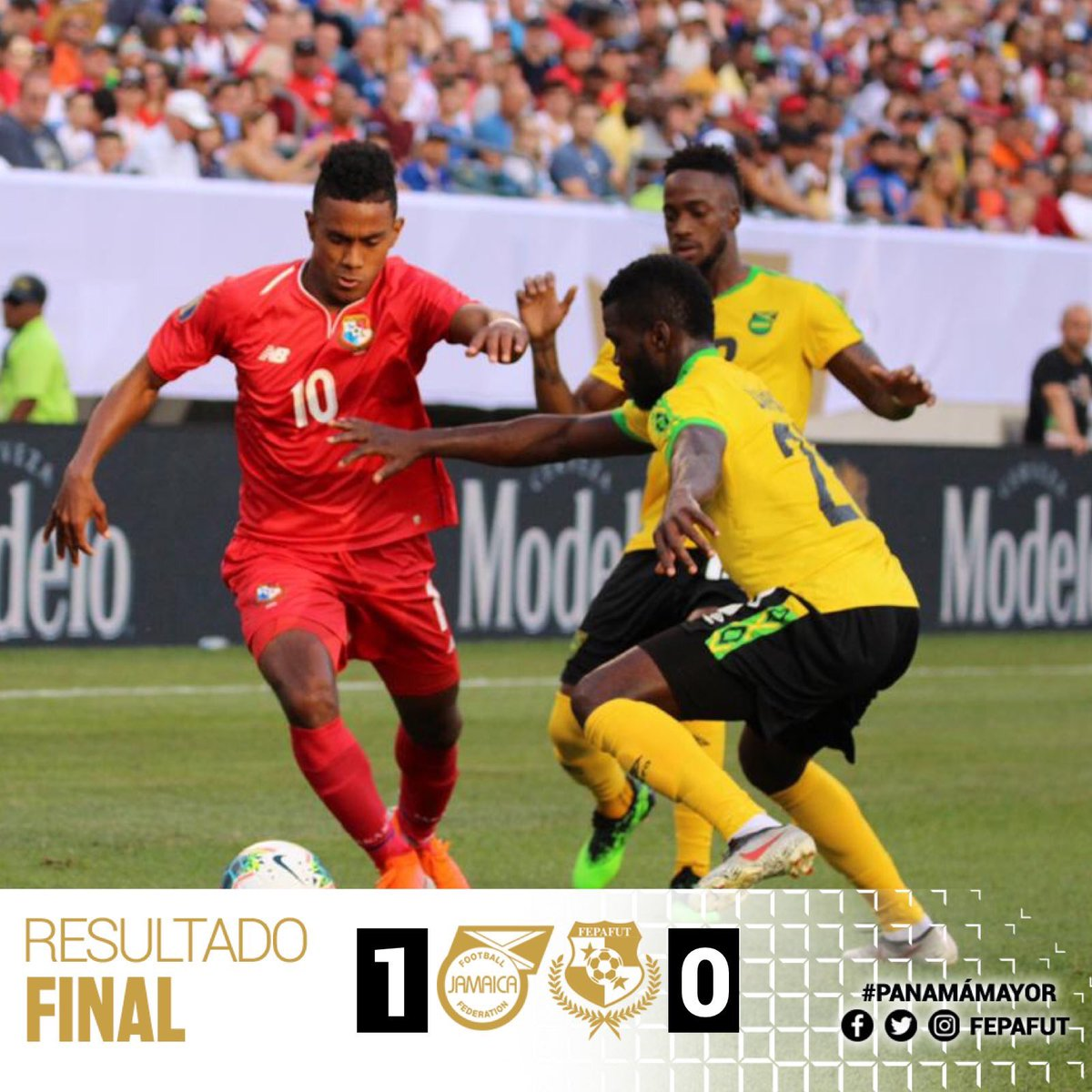 🇯🇲 1-0 🇵🇦 Yes! Yes! Our build up play was but the final ball wasn't great. Under the new football ruling the handball was definitely a penalty and it was perfectly put away.  A massive well done#ReggaeBoyz #2019GoldCup 🏆 #JFFLive #ReggaeBoyz #GoldCup #ReggaeFootball