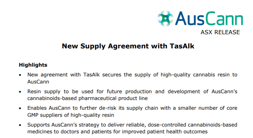 AusCann signs new supply agreement with TasAlk for the supply of cannabis resin to be used for AusCann's cannabinoids-based pharmaceutical product line https://t.co/2yYURW3Twn