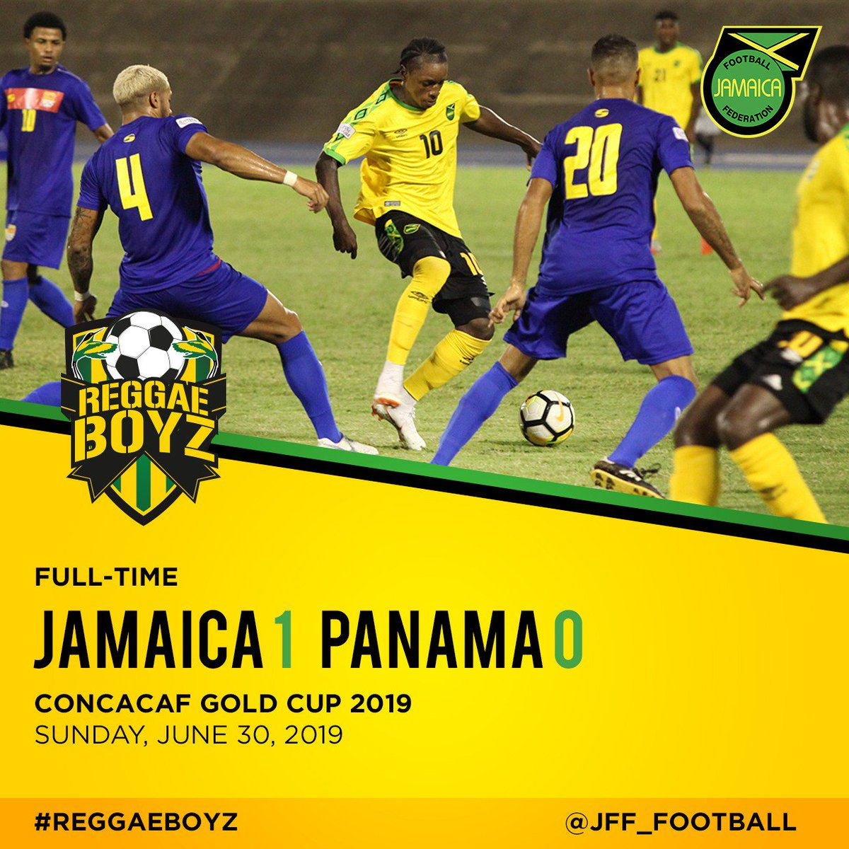 We off to the semifinals! The #ReggaeBoyz defeated Panama 1-0 recording their third #GoldCup Semifinal in a row, a feat no other caribbean team has ever achieved🖤💚💛. Goal by: Darren Mattocks 75'  #JFFLive #ReggaeBoyz #ReggaeFootball #StillOnTheBall #Goldcup