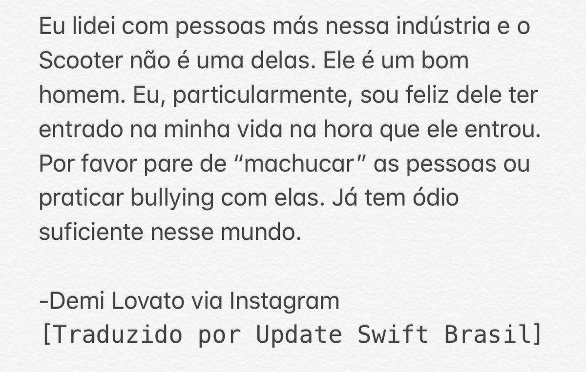 """Demi Lovato confronta Todrick Hall sobre afirmação de ameaça e defende Scooter Braun em postagem no Instagram: """"Ele é um bom homem"""""""