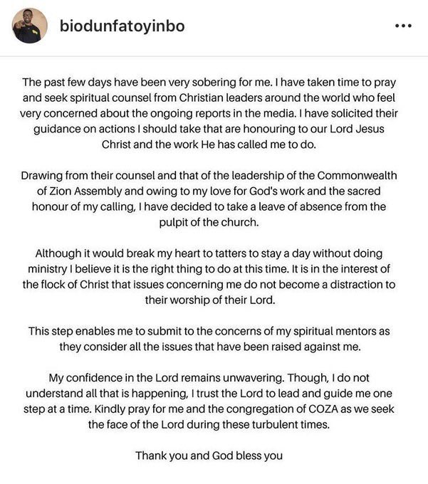 D YXD0pXYAES BM - BREAKING!!! Pastor Fatoyinbo of COZA bows to pressure, steps down