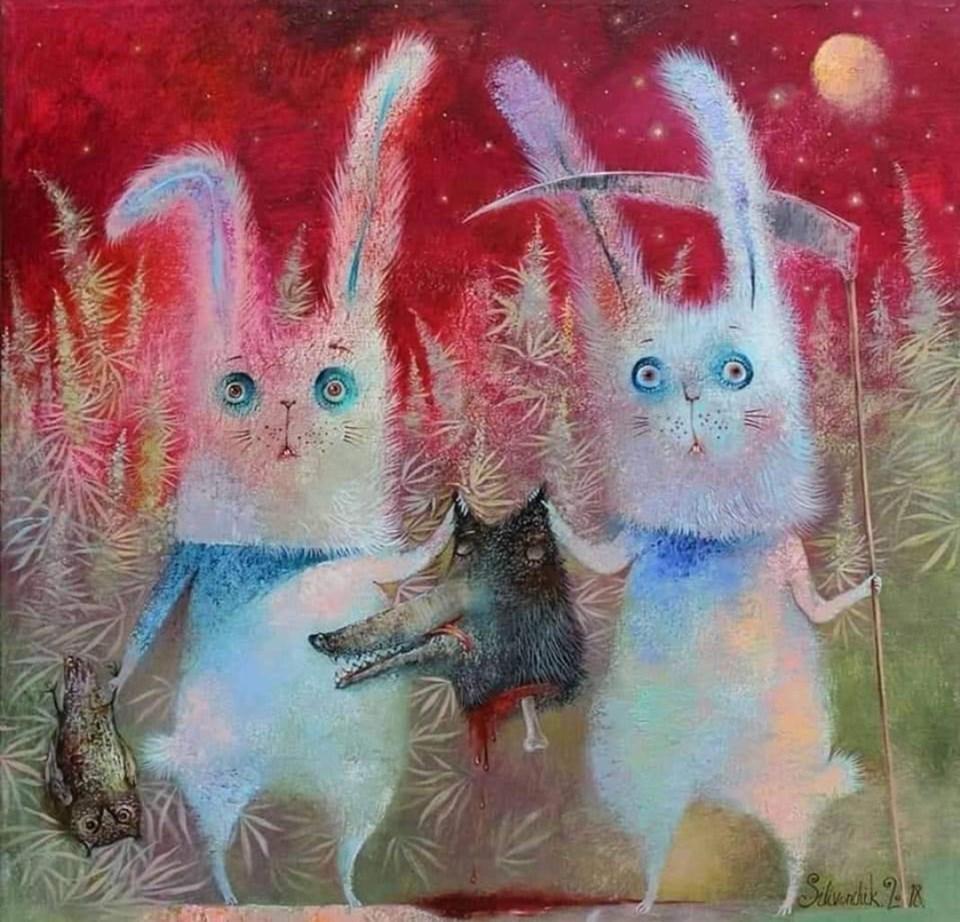 на поляне траву зайцы в полночь косили картинки животные могут