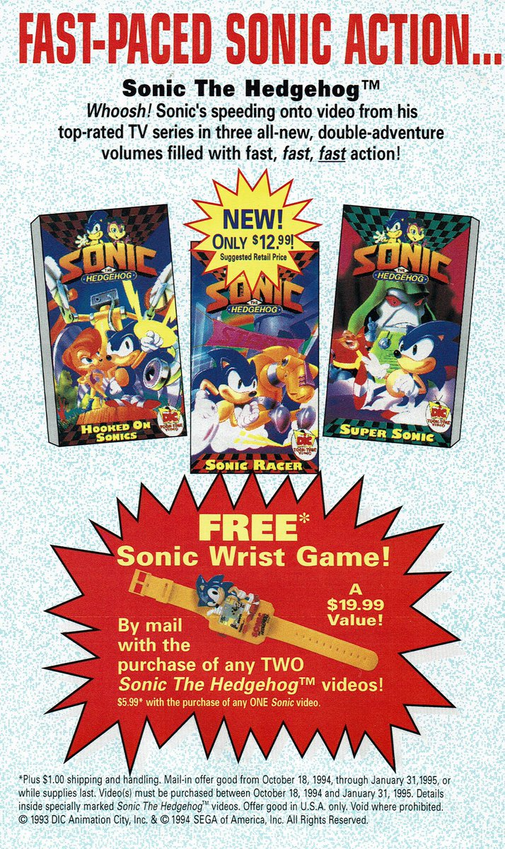 Videogameart Tidbits On Twitter Sonic The Hedgehog Vhs Ad
