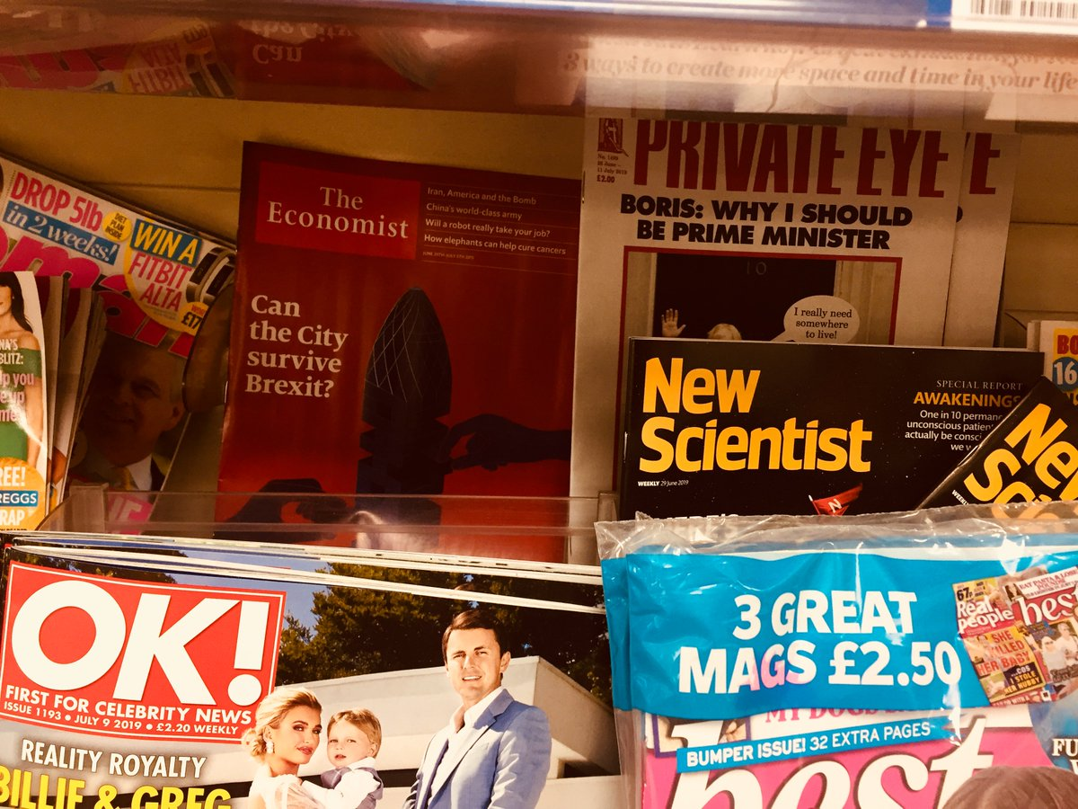 "My Economist cover story on Brex and the City which explains what ""fuck business"" Boris or ""Let them go bust"" Hunt mean for London as the world's top international financial centre. Glad to have prime shelf space in the local Tesco for my cover next to Private Eye"