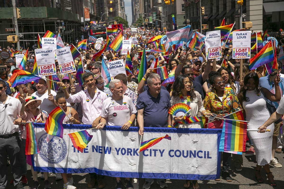 What a beautiful weekend at #NYCPride! @WomensCaucusNYC was honored to march & to celebrate the courageous LGBTQ+ activists—past and present—who pave(d) the way towards a more joyful & equitable future. #WorldPride2019 #Stonewall50 #LoveIsLove