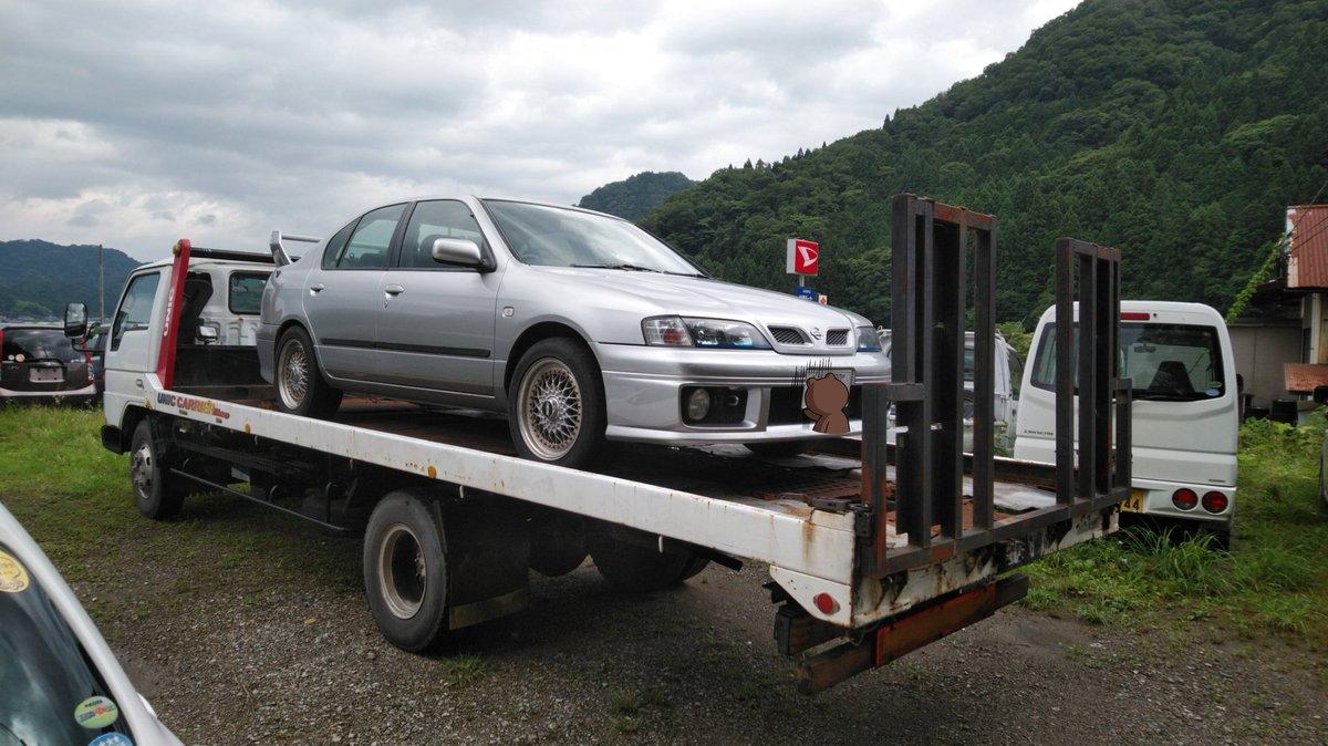 車屋さんに車載車で来てもらい、無事に回収してもらえました(・ω・)  ※画像は自動車屋さんの車輌置き場にて(・∀・)  #プリメーラ #セルモーター #故障 #車載車 #ロードサービス