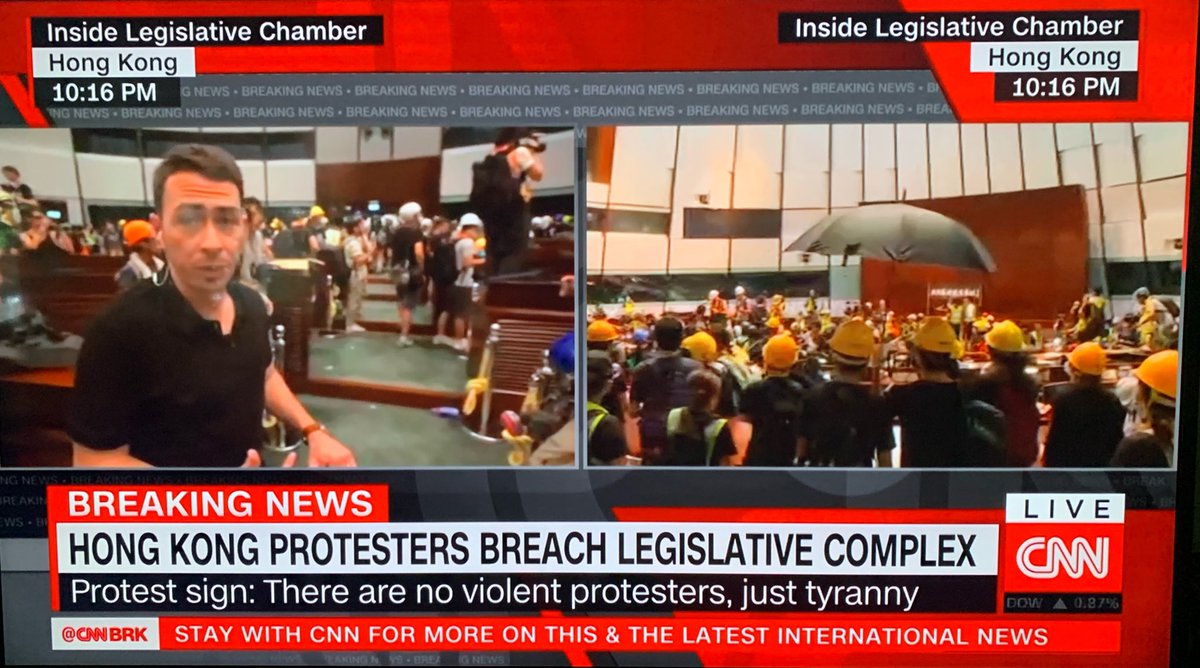 Our @MattRiversCNN is live inside the #HongKong legislative chamber as protesters break in. Tune in to @CNNI now for the very latest.