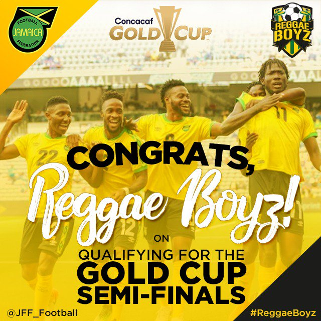 Congrats to #ReggaeBoyz on qualifying for the Gold Cup semifinals🇯🇲🇯🇲🇯🇲! #FootballFact This is the #ReggaeBoyz first win over Panama since 2009.  #JFFLive #ReggaeBoyz #Bogeyteamnomore #ReggaeFootball #GoldCup #ThisIsOurs