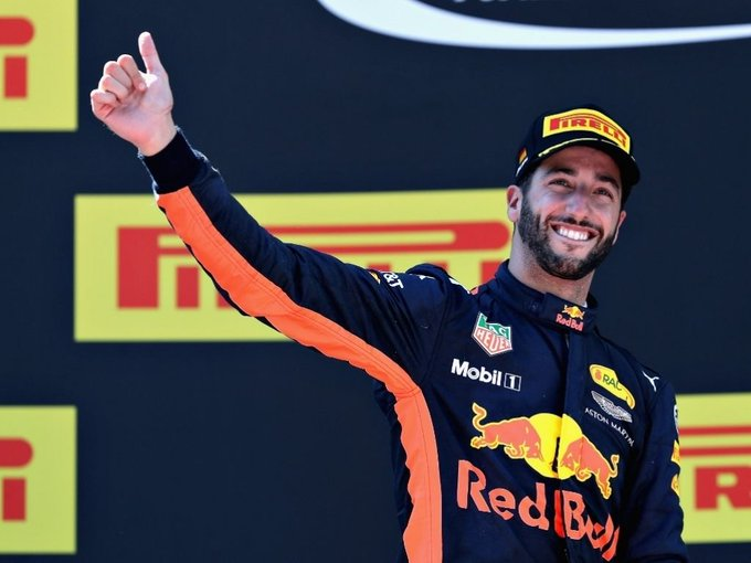 "Happy birthday Daniel Ricciardo       .The ""Honey Badger\""."