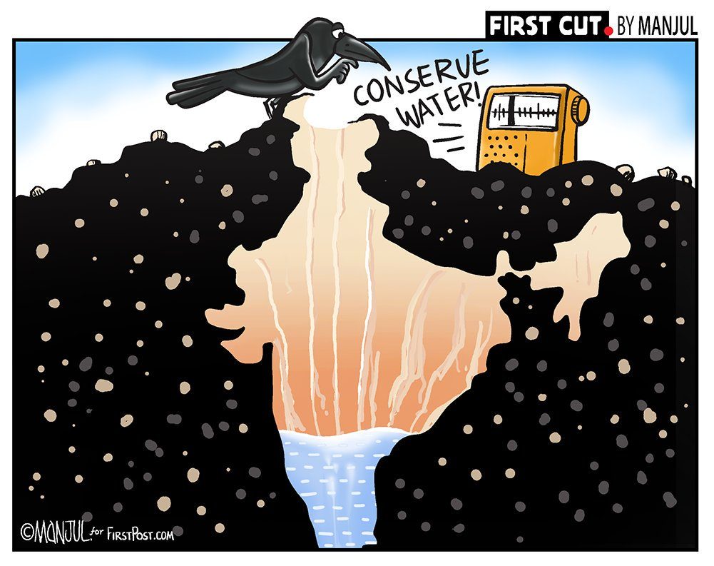 #WaterConservation #WaterScarcity #WaterCrisis #jalshakti4janshakti #jalshakti4jalshakti  #MannKiBaat My #cartoon for @firstpost More:  http:// bit.ly/FirstCutByMANJ UL  … <br>http://pic.twitter.com/SyWPwgFpVx