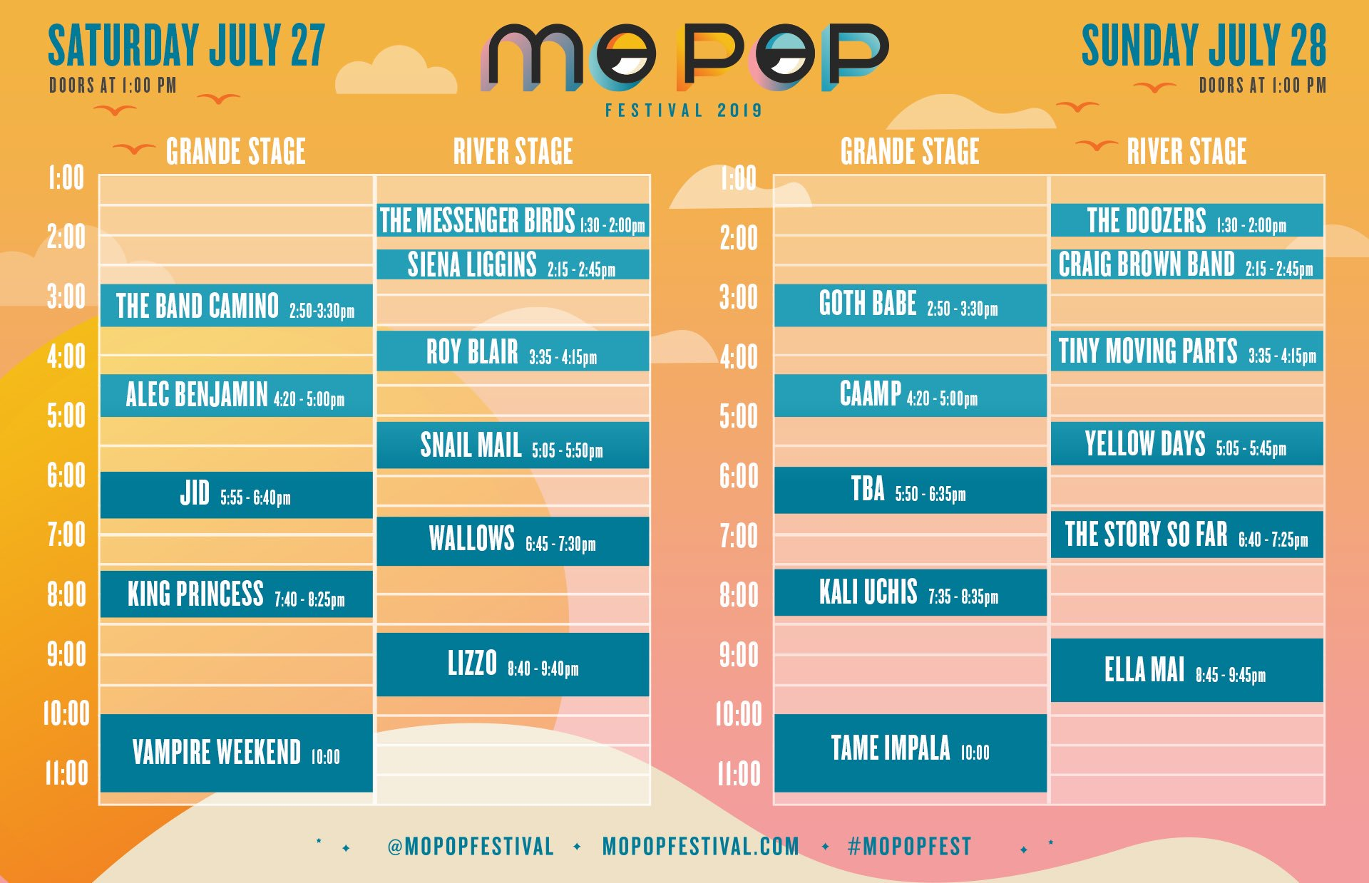 2019 Mo Pop Festival schedule for the weekend
