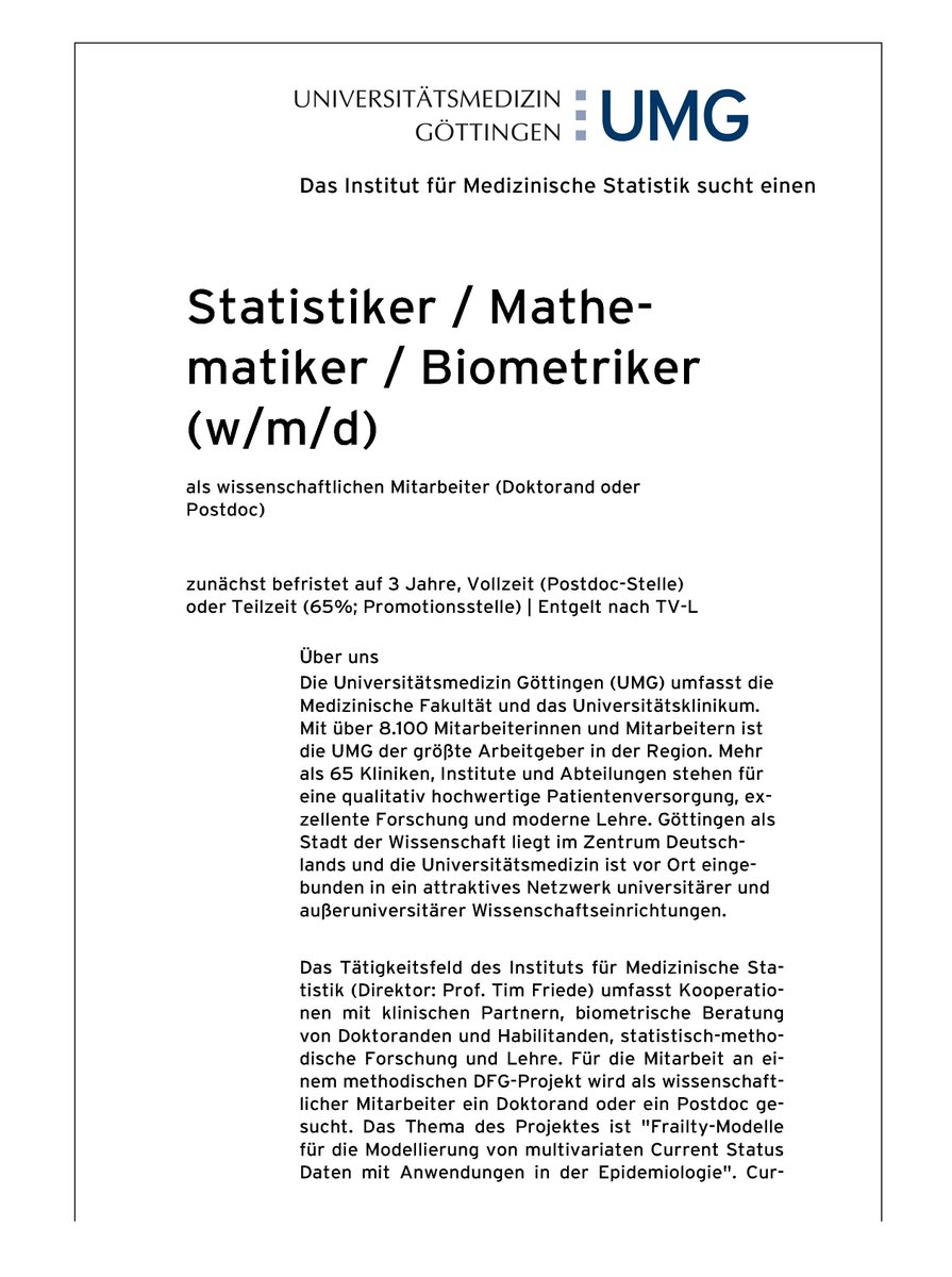 Ag Epimeth On Twitter Statstwitter Joboffer The Institute Of Medical Statistics Umgöttingen Is Searching A Statistician Mathematician Biometrician M F D As Scientist 4 A 3yrs Full Time Postdoc Position Or 65 Phd Candidate