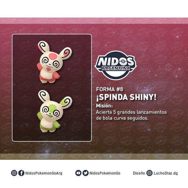 Imagen de la forma 8 de Spinda y su versión shiny hecho por Nidos Pokémon GO Argentina.