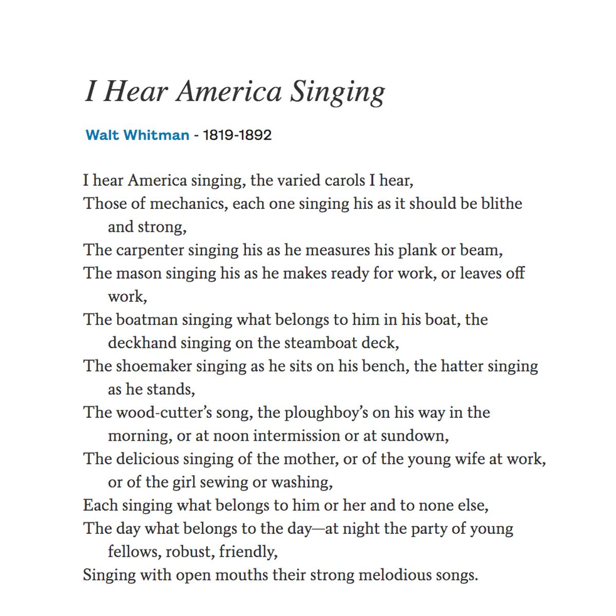 Twitter पर Poetsorg I Hear America Singing The Varied