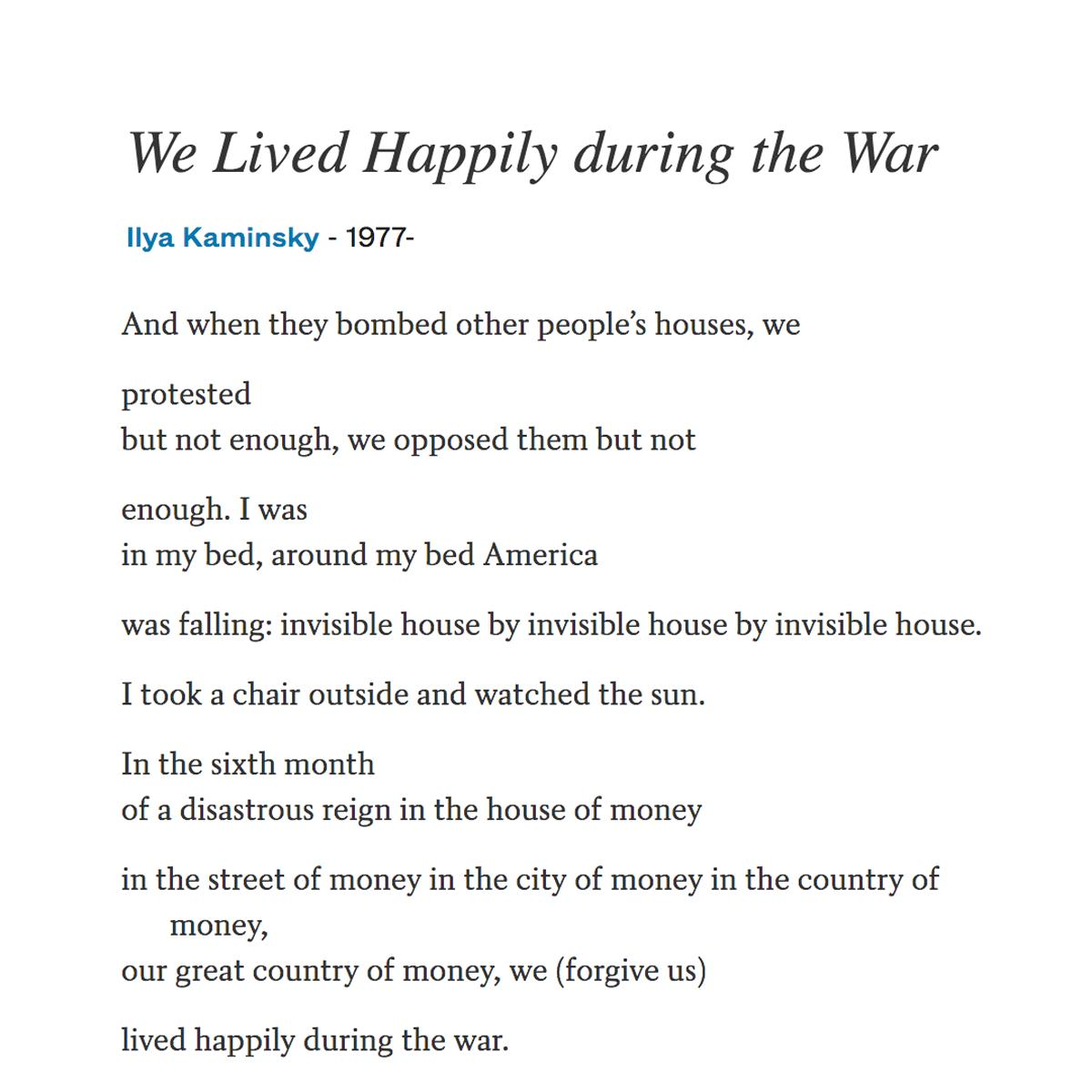 We Lived Happily During the War (Poem)