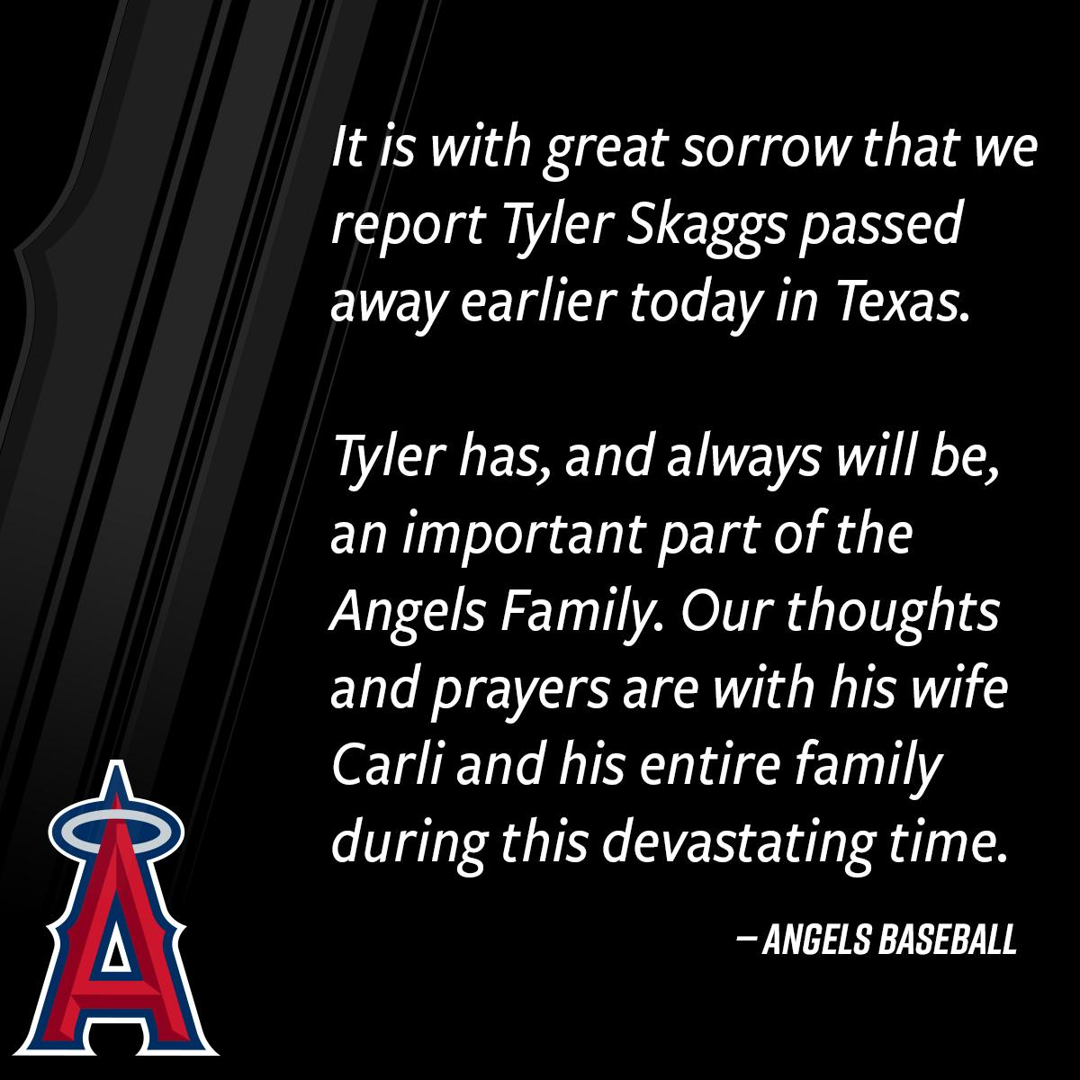 Angels statement on the passing of Tyler Skaggs.
