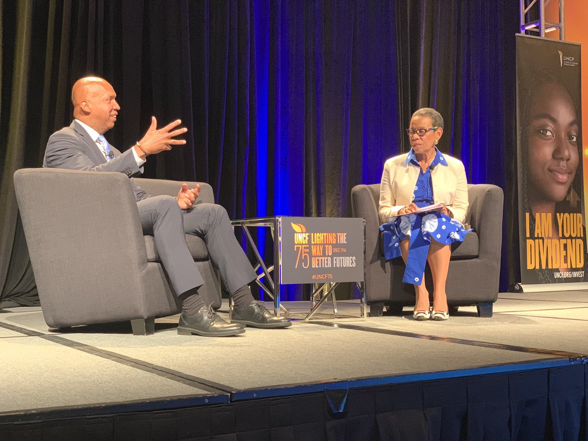 Bryan Stevenson sits down with @SpelmanPres to talk about social justice. He mentions that all #HBCUs should partner with him in his efforts! #UNCFCPI #HBCUPromise2Purpose