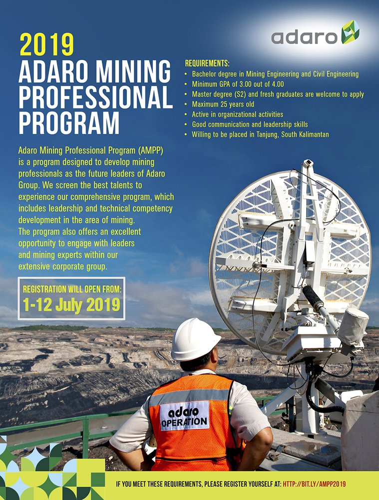 Itb Career Center On Twitter 2019 Adaro Mining Professional Program Requirement Bachelor Degree In Mining Engineering And Civil Engineering Minimum Gpa Of 3 00 Out Of 4 00 Master Degree S2