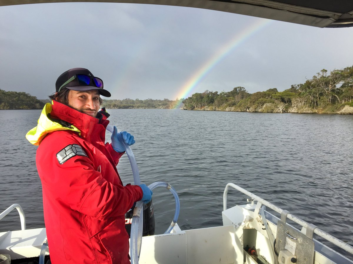 #fromthefield It might have been a bit wet and cold during this week's water quality monitoring on the Hardy Inlet, but department scientist Adam thinks the rainbows make the #questforscience worth it #WAEstuaries #SouthWestWA