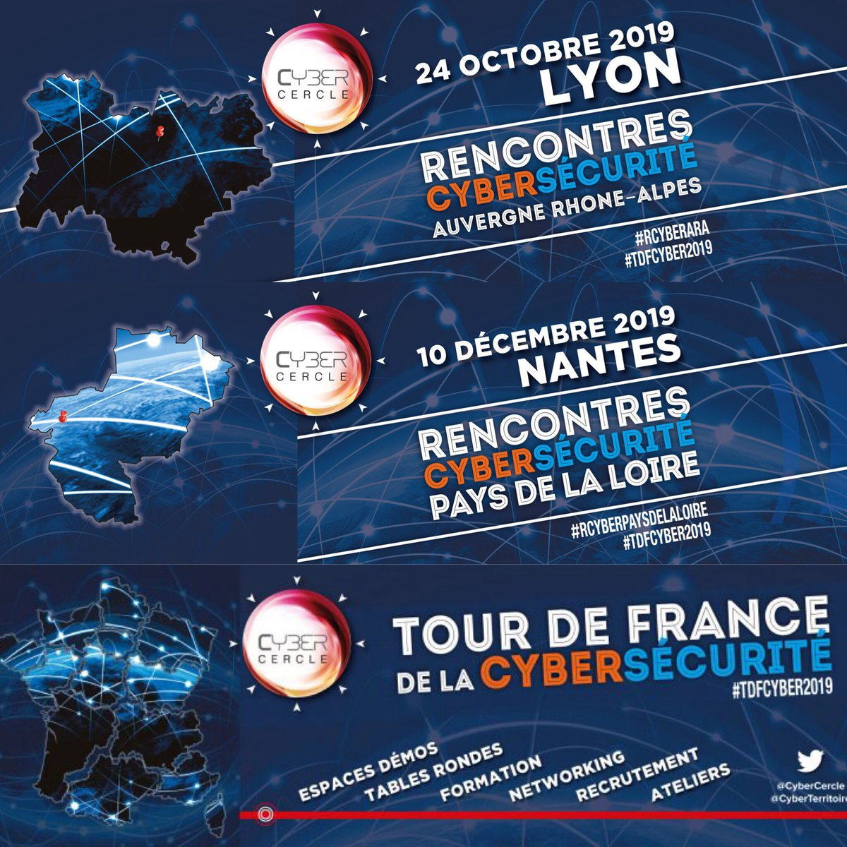 [SAVE THE DATE]  Etapes du #TDFCYBER2019  • 24 octobre, Lyon #RCyberARA • 10 décembre, Nantes #RCyberPaysdelaLoire  #cybersecurite #territoires #securite #numerique #surleterrain #culturesecuritenumerique #collterr #pmepmi #innovation #formation #recrutement #transfonumerique