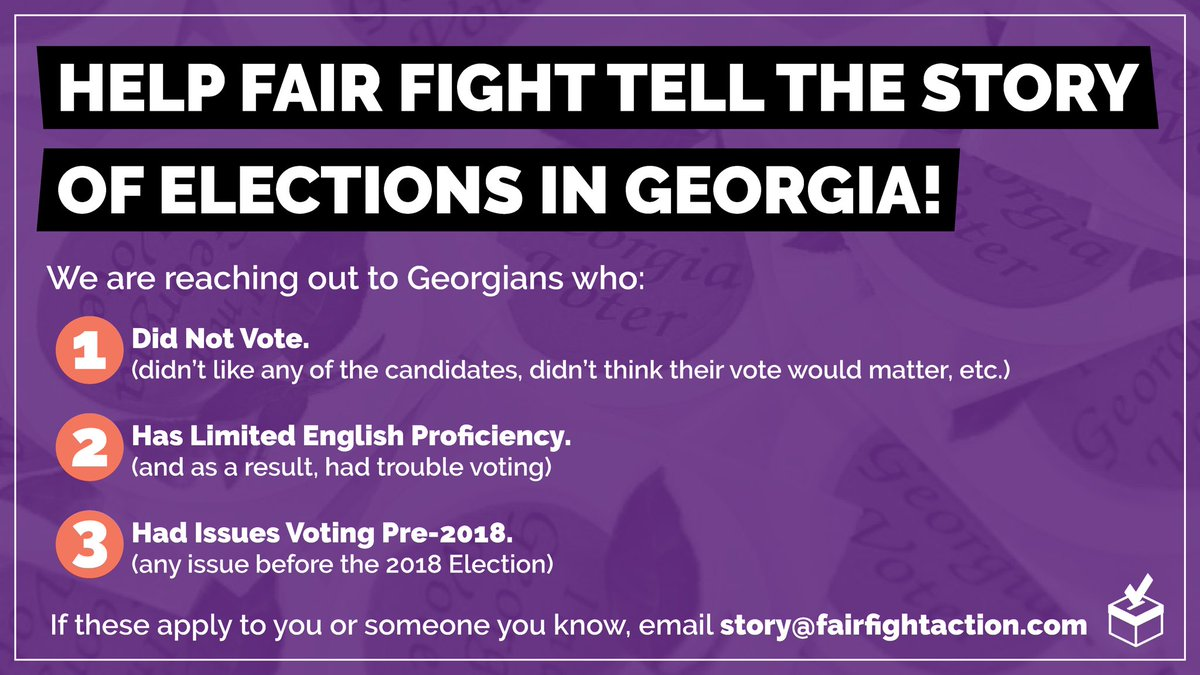 We need your help!   If you (or someone you know) falls into one of these categories 👇🏽 please email story@fairfightaction.com  Share this post widely so we can continue fighting for free and fair elections! #gapol