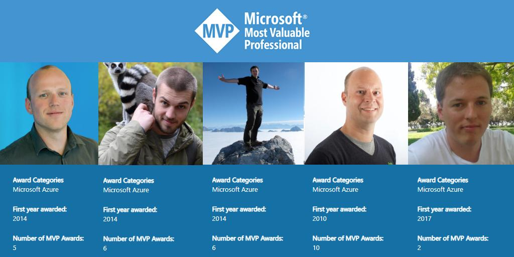 """RT CoditCompany """"Congrats to our 5 renewed #Azure MVP´s 👏 ! Thank you (once again) for all your contributions to the community the past year! #MVPAward #MVPBuzz #proud """""""