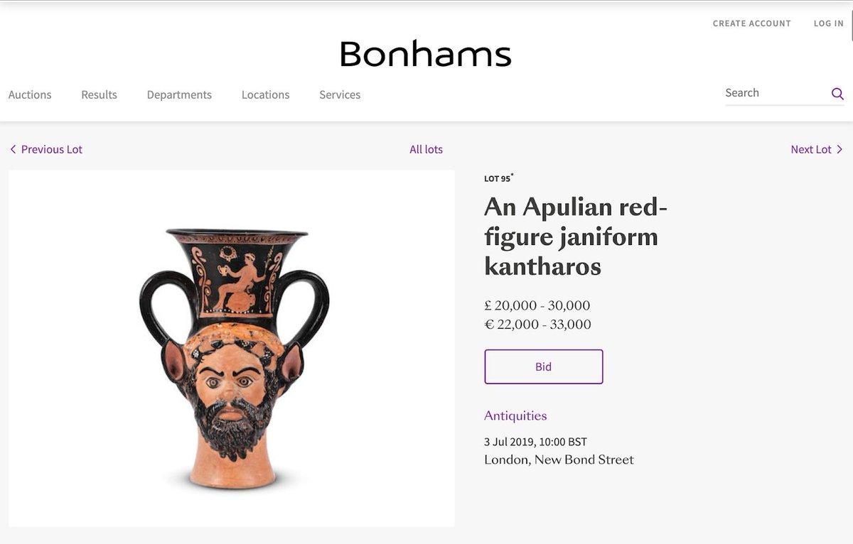 ⭕️ Auction Alert - Bonhams Auction House - An il(licit) Apulian red-figure janiform kantharos? ℹ️ art-crime.blogspot.com/2019/07/auctio… ℹ️ archaeologyin.org