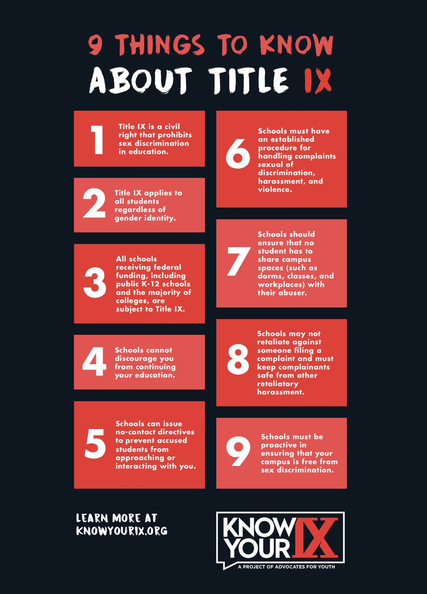 All survivors should know their Title IX rights. If you want to help educate your community, download and share our free Know Your Rights poster for college and high school students. This is a great way to ensure survivors are informed and empowered. knowyourix.org/campus-action/…