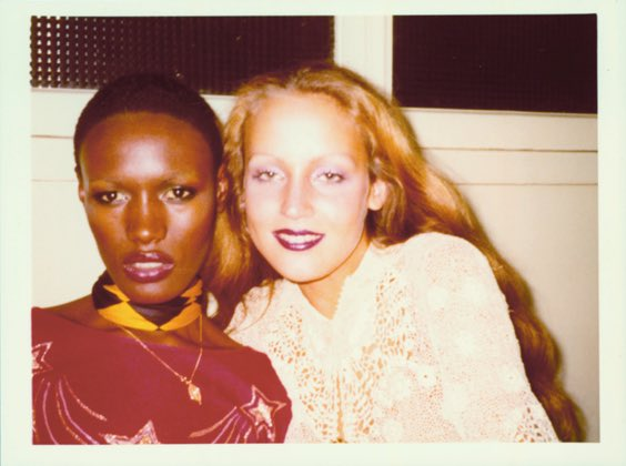 Happy Birthday Jerry Hall, seen here in Paris with Grace Jones, 1975. Photo by Antonio Lopez.