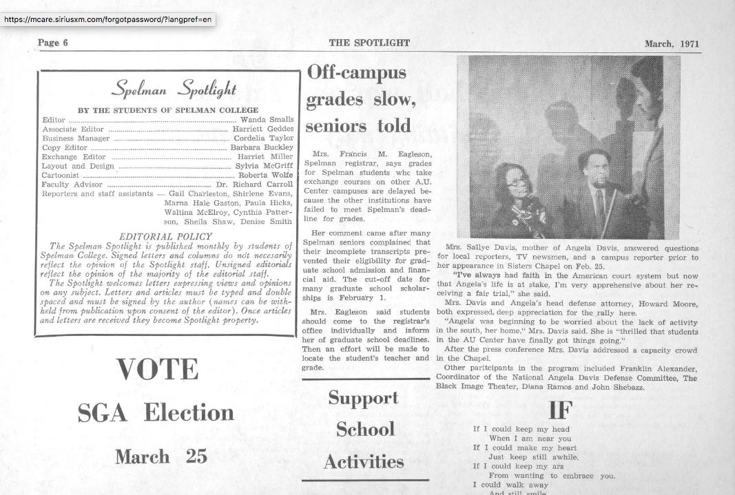 The Georgia Historic Newspapers website now offers  digitally archived student newspapers of Spelman College and the other Atlanta University Center schools. It is enlightening on many levels to review the newspaper where I served as the editor in my senior year.
