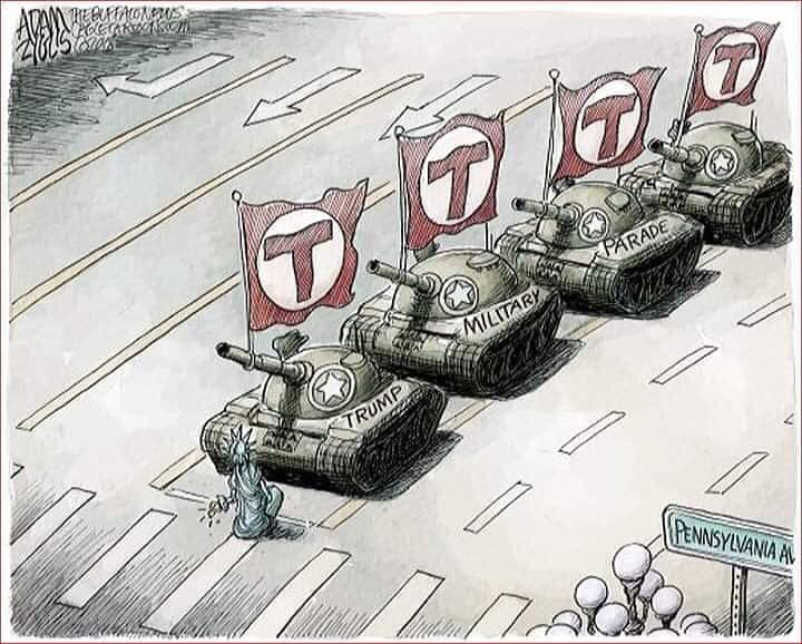 Lady Liberty stands alone in front of four Trump Tanks, like the man in Tienanmen Square. Editorial cartoon by Adam Ziglis