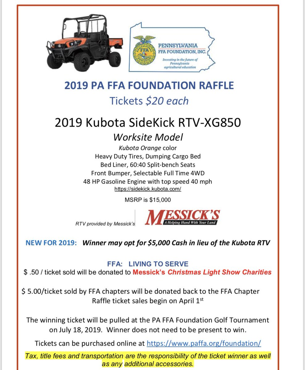 Please consider purchasing a ticket for the PA FFA